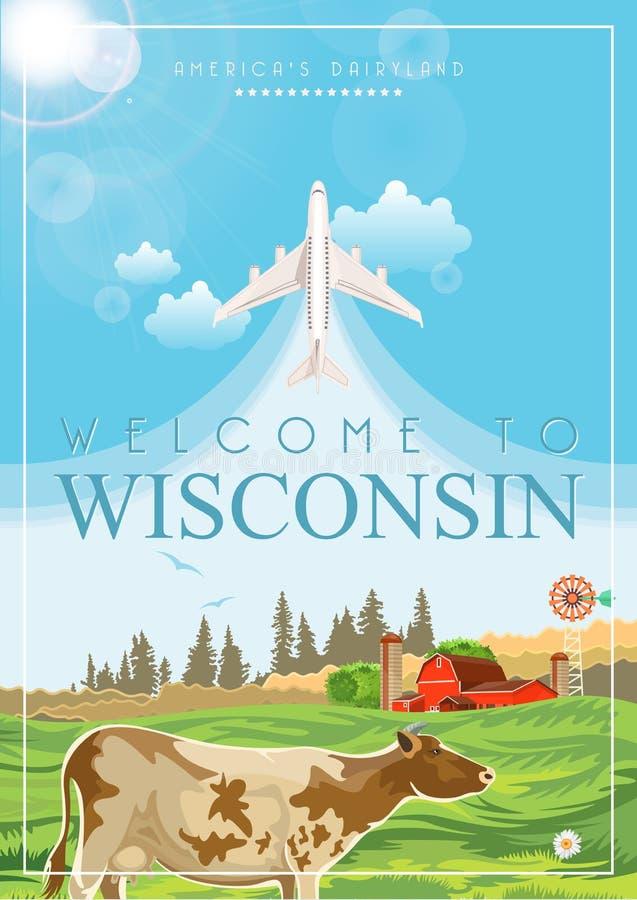 De vectorillustratie van Wisconsin met de kaart van Wisconsin Het zuivelland van Amerika Reisprentbriefkaar vector illustratie
