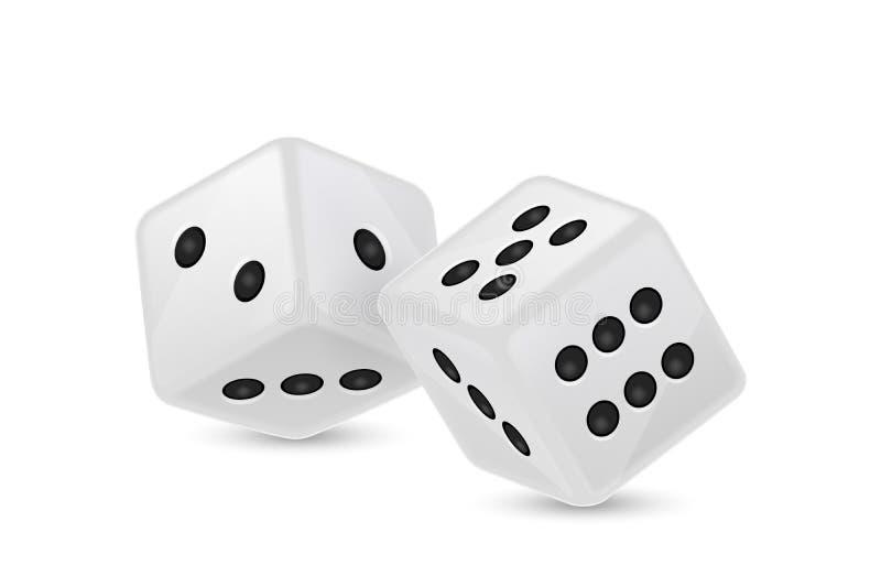 De vectorillustratie van wit realistisch spel dobbelt tijdens de vlucht pictogramclose-up op witte achtergrond Casino het gokken royalty-vrije illustratie