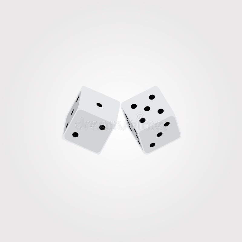 De vectorillustratie van wit twee dobbelt stock illustratie