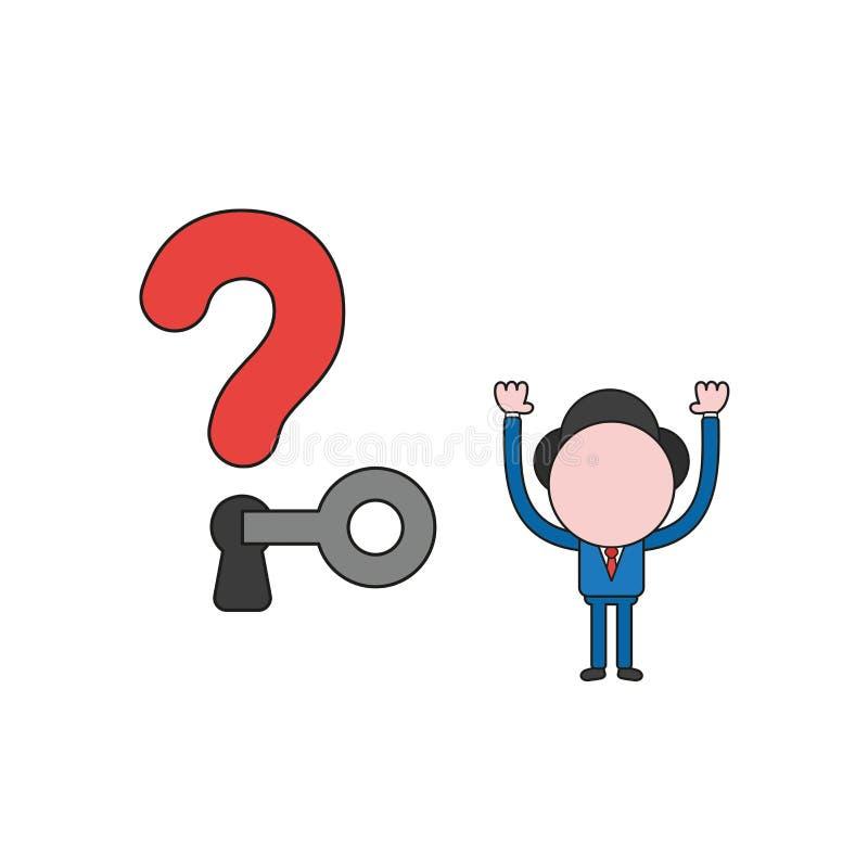 De vectorillustratie van zakenmankarakter opent vraag in de war brengt vector illustratie
