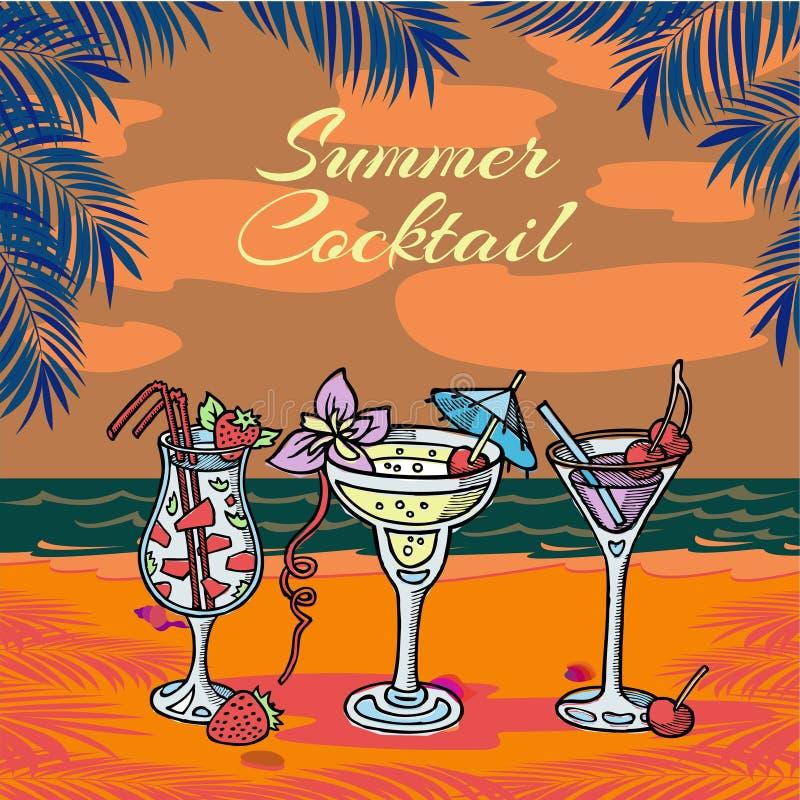 De vectorillustratie van de de zomer coctail partij Tropische palmbladen en overzees, plak van watermeloen, kers en paraplu's bin vector illustratie