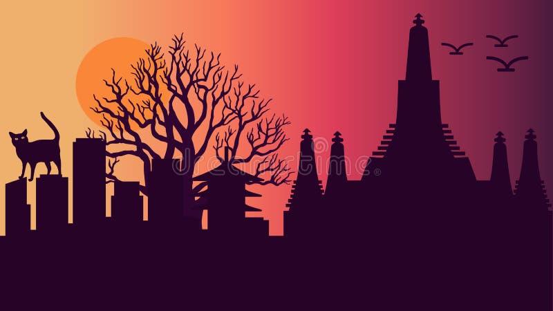 De vectorillustratie van de zonsondergang daar dag royalty-vrije illustratie