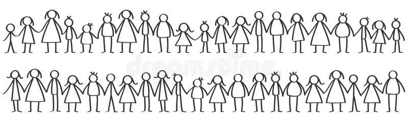 De vectorillustratie van zwarte mannelijke en vrouwelijke stok stelt status in rijen voor die handen houden vector illustratie
