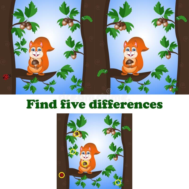 De vectorillustratie vindt vijf verschillen met de eekhoorn stock illustratie