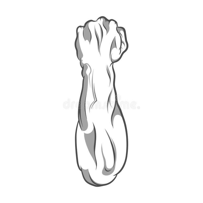 De vectorillustratie in zwart-witte stijl van een dichtgeklemde vuist hield in protest hoog stock illustratie