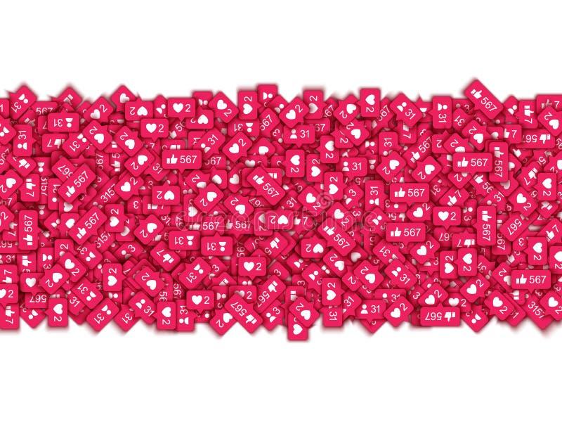 De vectorillustratiebanner met rode 3D tegenpictogrammen van houdt van en nieuwe aanhangers in sociaal netwerk royalty-vrije illustratie
