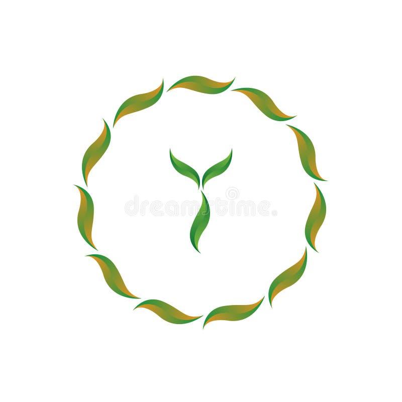 De vectorillustratiebrief y met blad en cirkel het embleem van het aardpictogram ontwerpt groene kleur royalty-vrije illustratie