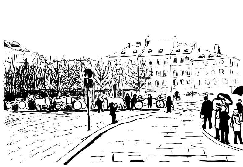 De vectorillustratiecityscape mensen bevinden zich onder paraplu's dichtbij huizen royalty-vrije illustratie