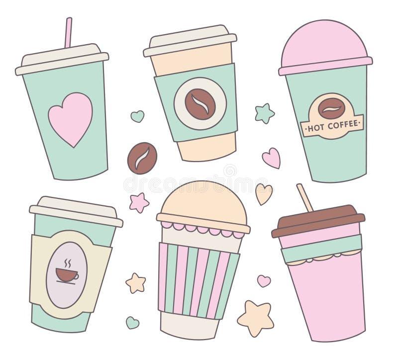 De vectorillustratieinzameling plaatste met verschillende leuke pastelkleur gekleurde beeldverhaaldocument koppen voor koffie, ch stock illustratie