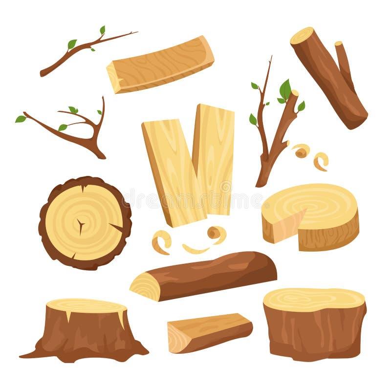 De vectorillustratiereeks materialen voor de houten industrie, boomlogboeken, houten boomstammen, hakte brandhout houten planken, stock illustratie