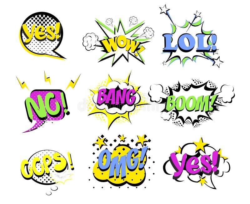 De vectorillustratiereeks van beeldverhaal, pop-art grappige toespraak borrelt met populaire woorden Gekleurd Pop-art en speld op vector illustratie