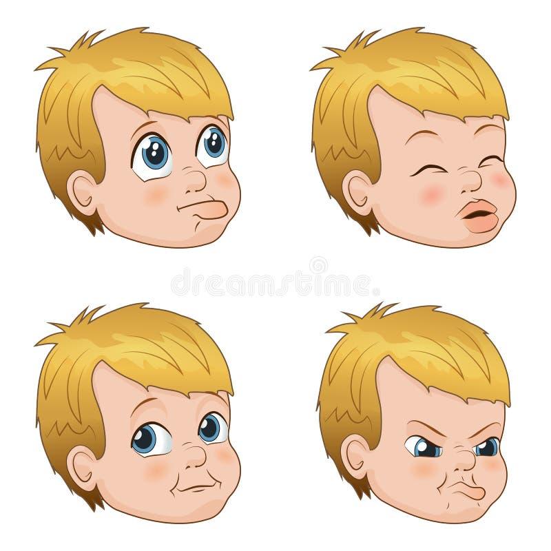 De vectorillustratiereeks van leuk weinig intimideert jongensgezichten die verschillende emoties tonen vector illustratie