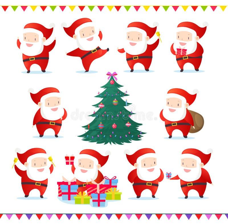 De vectorillustratiereeks van leuke en grappige Santas in verschillend stelt Inzameling van Santa Claus en Kerstboom met vector illustratie