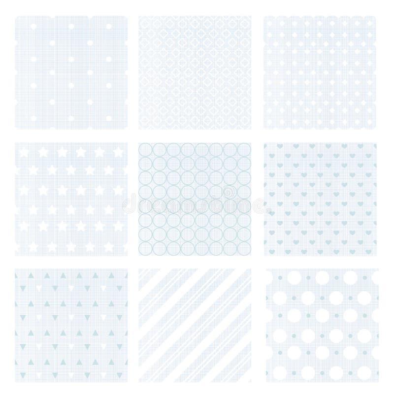De vectorillustratiereeks van negen verzacht langzaam verdwenen blauwe retro naadloze patronen op linnenachtergrond royalty-vrije illustratie