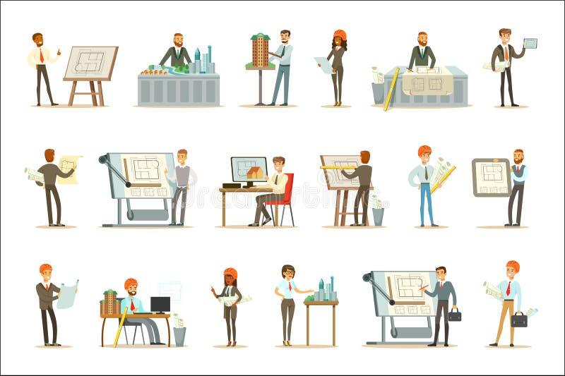 De Vectorillustraties van architectenprofession set of met Architecten die Projecten en Blauwdrukken voor de Bouw ontwerpen royalty-vrije illustratie