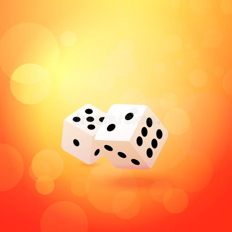 De vectorillustraties van het werpen dobbelen op mooie oranje achtergrond - Illustratie van hartstocht aan Gokken en Enthousiasme stock illustratie