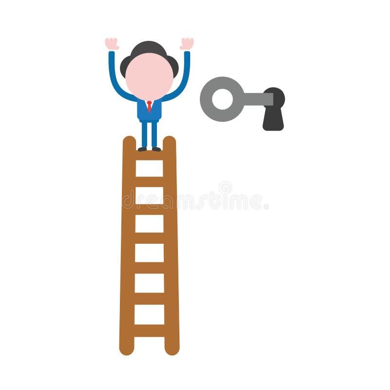 De vectorillustratiezakenman beklimt tot bovenkant van houten ladder royalty-vrije illustratie