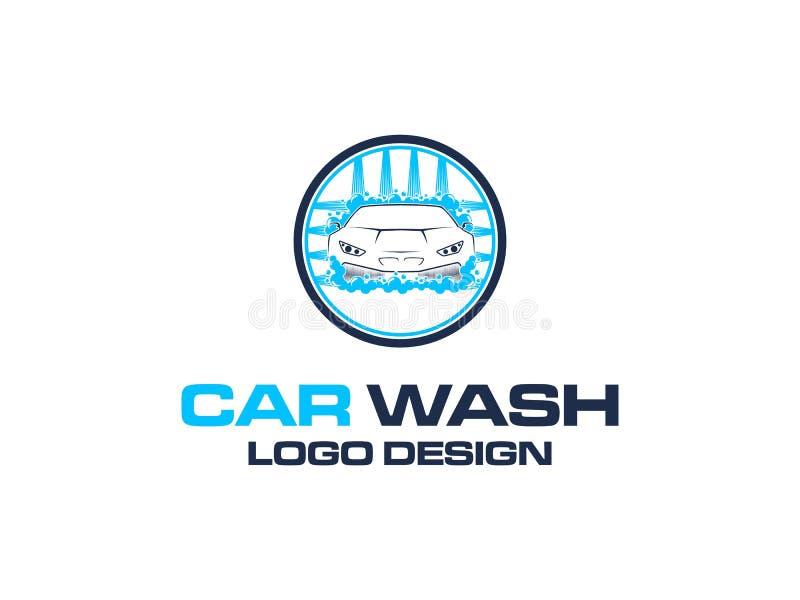 De vectorinspiratie van het autowasseretteembleem royalty-vrije illustratie