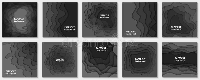 De vectorinzameling van 10 achtergronden met zwart document sneed vormen stock illustratie