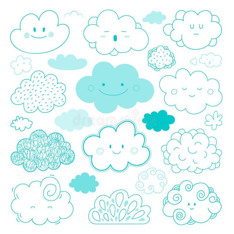 De vectorinzameling van beeldverhaalwolken royalty-vrije illustratie