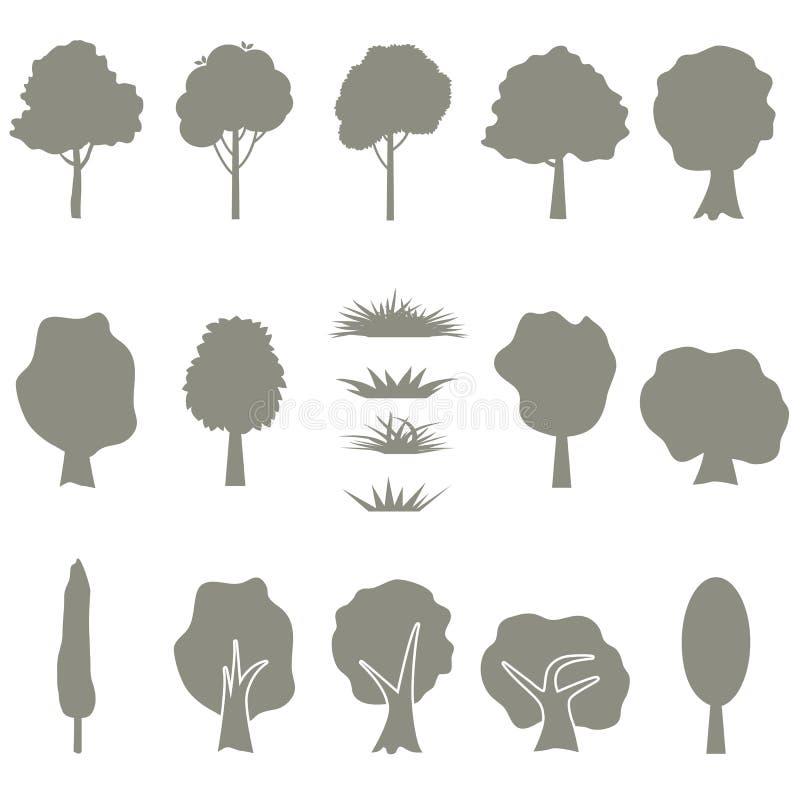 De vectorinzameling van boomsilhouetten isoleert royalty-vrije illustratie