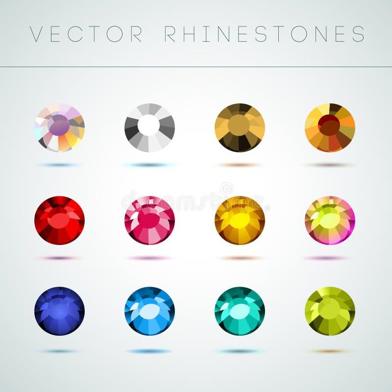 De vectorinzameling van glanst kleurrijke halfedelstenen op witte achtergrond stock illustratie