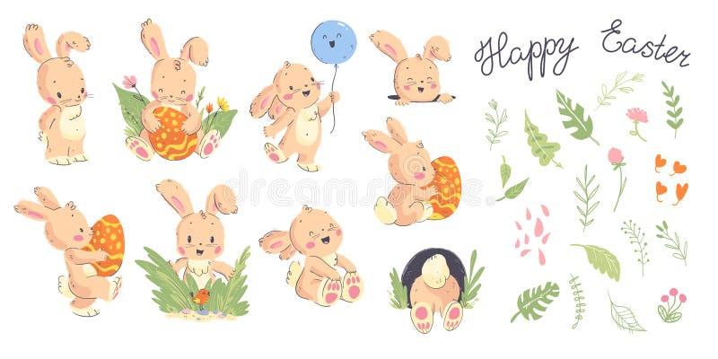 De vectorinzameling van hand getrokken leuk weinig konijnkarakter stelt, Gelukkige Pasen-gelukwens en bloemen decoratieve element vector illustratie