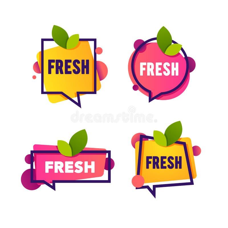 De vectorinzameling van helder en glanst de stickers van de toespraakbel, emblemen en banners met blad en vers woord stock illustratie