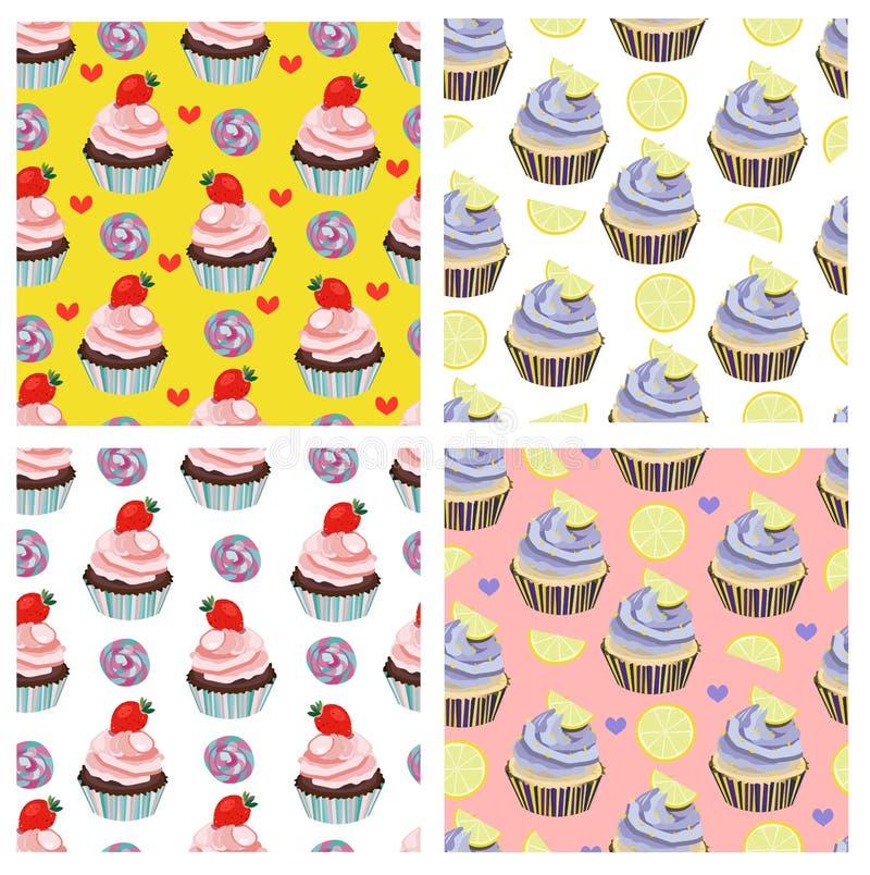 De vectorinzameling van het cupcakepatroon Dessert, cake, snoepjes, muffindruk Bakkerijontwerp Document, het verpakken vector illustratie