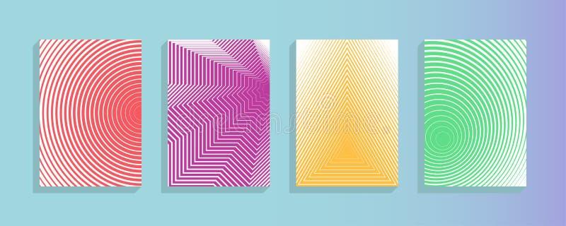 De vectorinzameling van het jaarverslagontwerp Halftone malplaatjes van de de dekkingspagina-indeling van de strepentextuur gepla vector illustratie