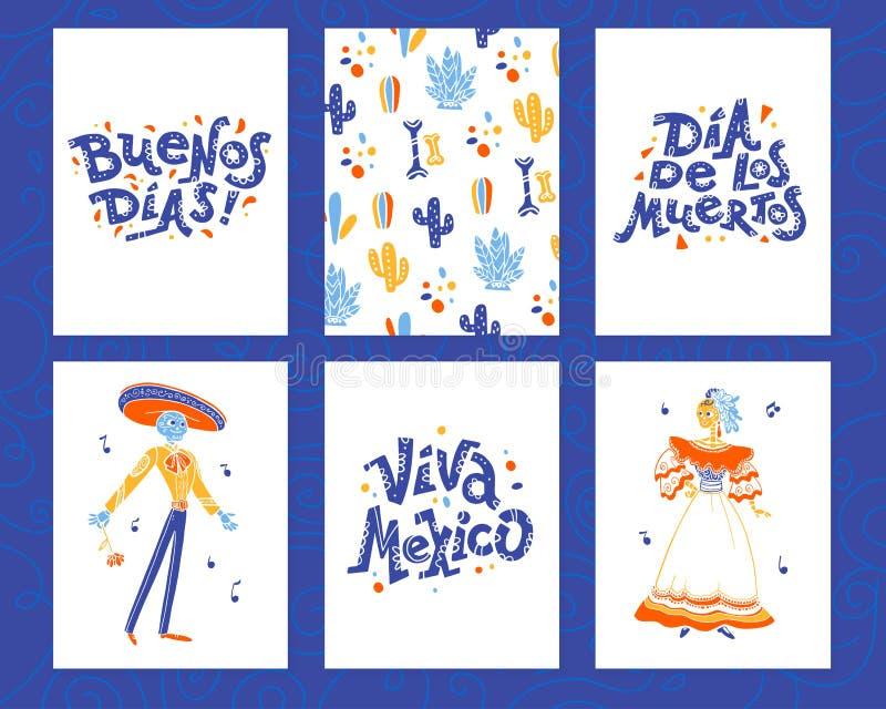 De vectorinzameling van kaarten met traditionele decoratie voor de dag dode partij van Mexico, dia DE los muertos viering in vlak royalty-vrije illustratie