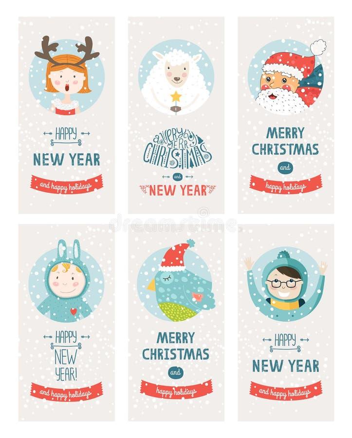 De vectorinzameling van Kerstmiskaarten royalty-vrije illustratie