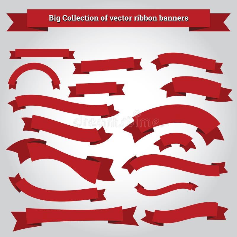 De vectorinzameling van lintbanners voor het ontwerpwerk vector illustratie