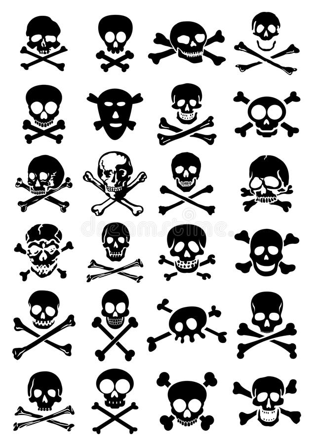 De VectorInzameling van schedels & van Gekruiste knekels in Witte Bac royalty-vrije illustratie