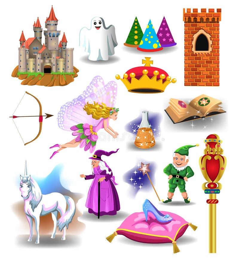 De vectorinzameling van sprookjepictogrammen en de karakters houden van heks, dwerg, kasteel vector illustratie