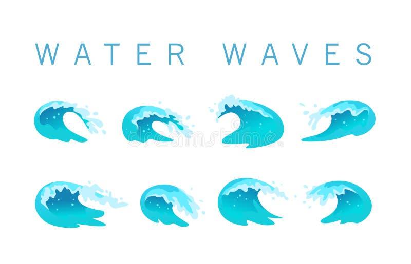De vectorinzameling van vlakke blauwe die watergolven, ploetert, buigt pictogrammen op witte achtergrond worden geïsoleerd stock illustratie