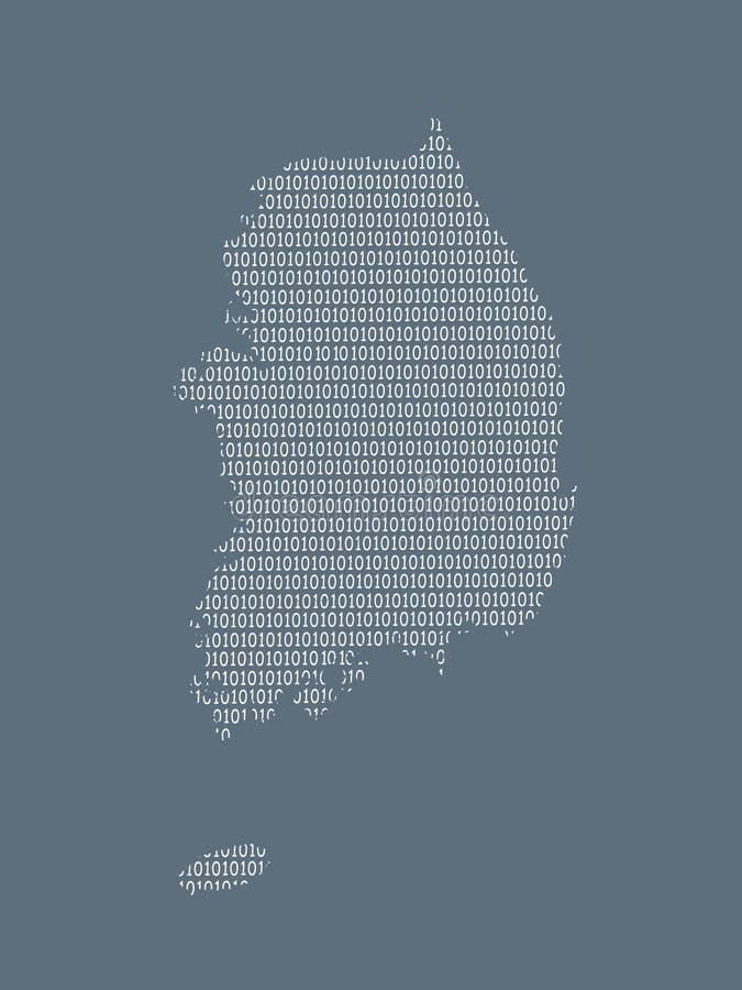De vectorkaart die van Zuid-Korea witte bits op donkere achtergrond gebruiken om digitaal land en de vordering van technologie te vector illustratie