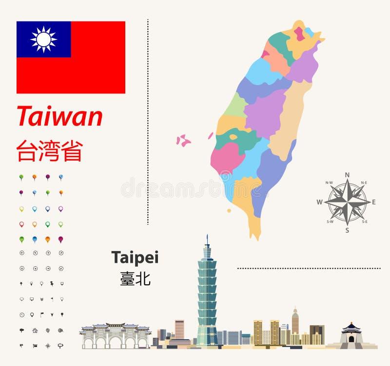 De de vectorkaart en vlag van Taiwan Abstracte stadshorizon van Taipeh Navigatie en Plaatspictogrammen royalty-vrije illustratie