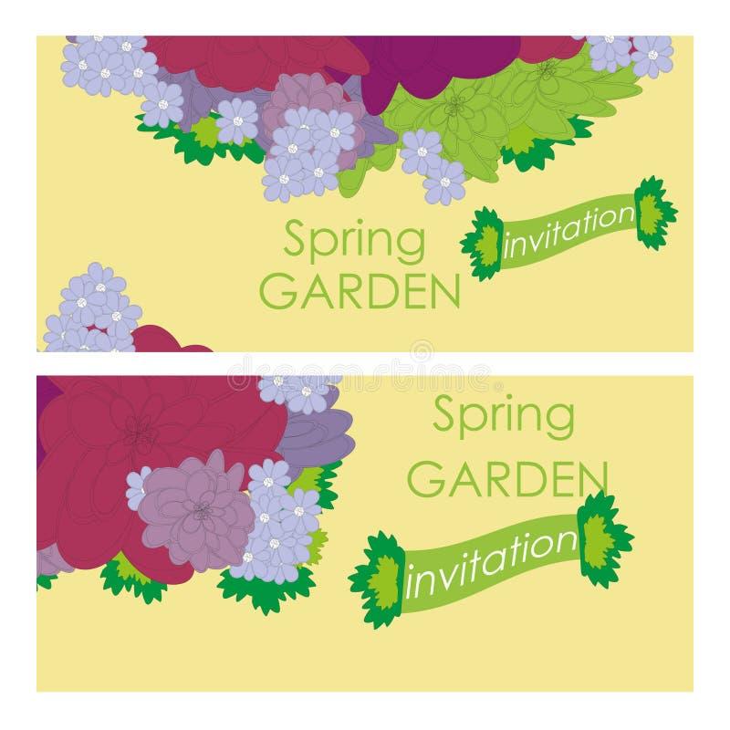 De vectorkaart met bloemen, kan als uitnodigingskaart voor huwelijk, verjaardag en andere vakantie en de zomerachtergrond worden  royalty-vrije illustratie