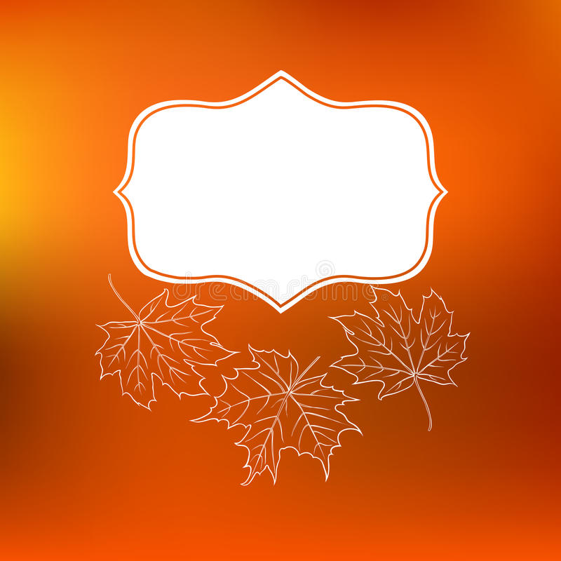 De vectorkaart met de herfstdecor en doorbladert stock illustratie