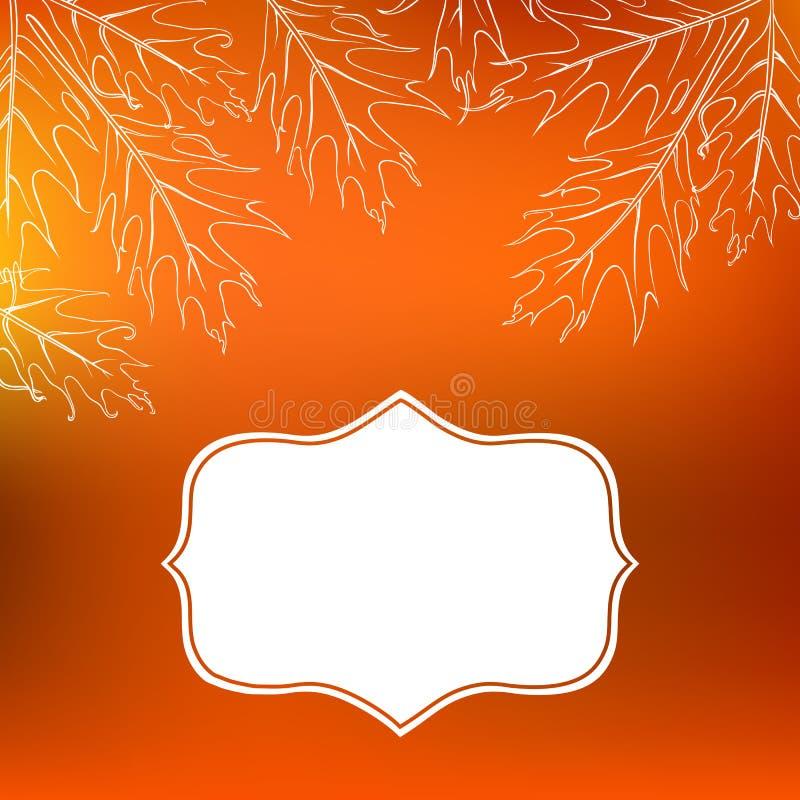 De vectorkaart met de herfstdecor en doorbladert vector illustratie