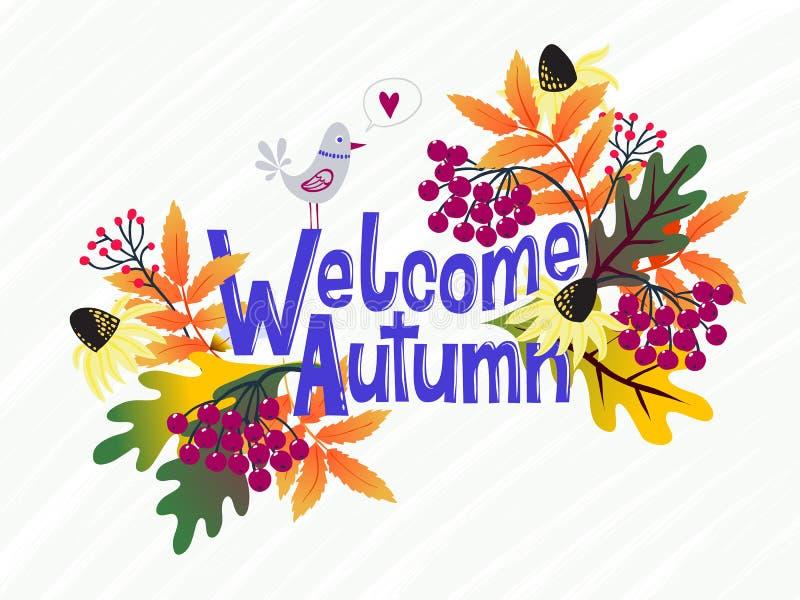 De vectorkaart met woorden stemt in de herfst en dalings met bladeren royalty-vrije illustratie