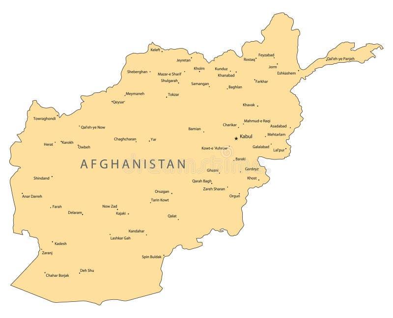 De vectorkaart van Afghanistan stock illustratie