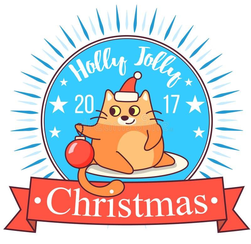 De vectorkaart van de Kerstmisgroet in kentekenvorm Het vette kat spelen met Kerstmisstuk speelgoed Heldere gelukkige kleuren Leu royalty-vrije stock fotografie