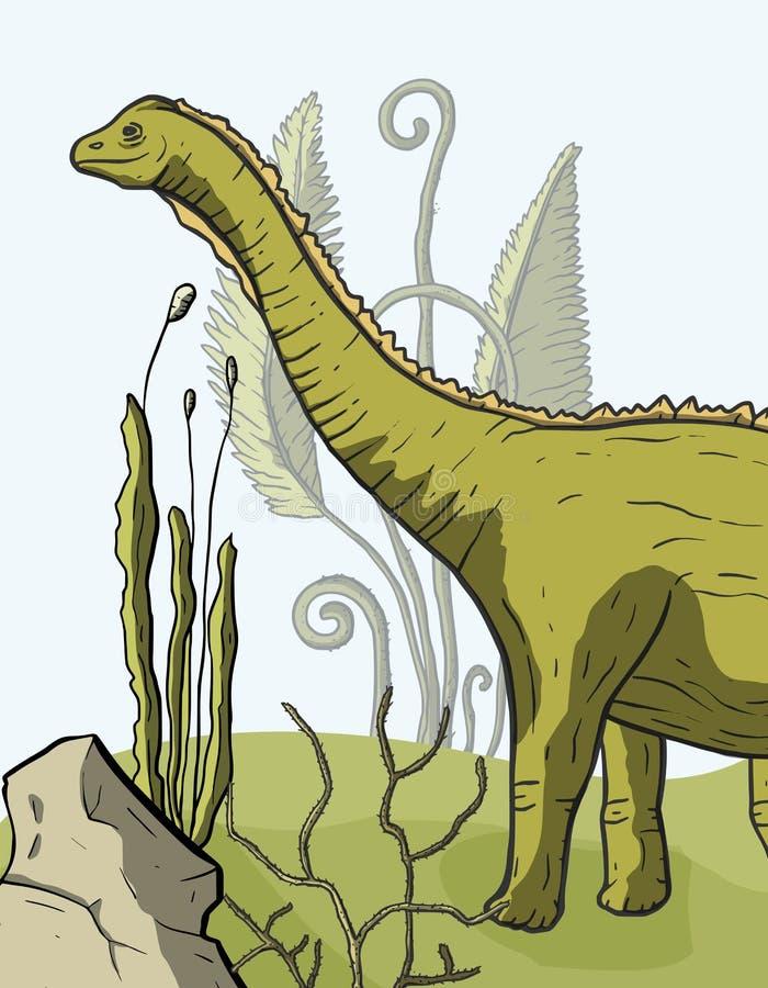 De vectorkaart van de Diplodocusdinosaurus stock illustratie