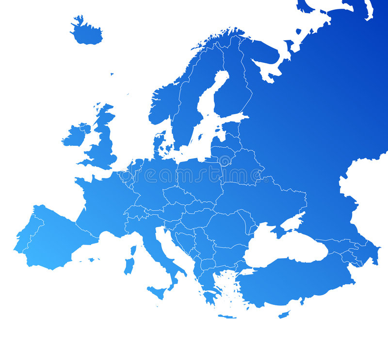 De vectorkaart van Europa stock illustratie