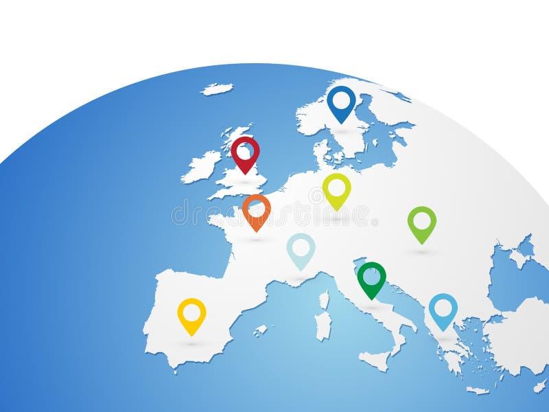 De vectorkaart van Europa op wereldbol met kleurenspelden vector illustratie