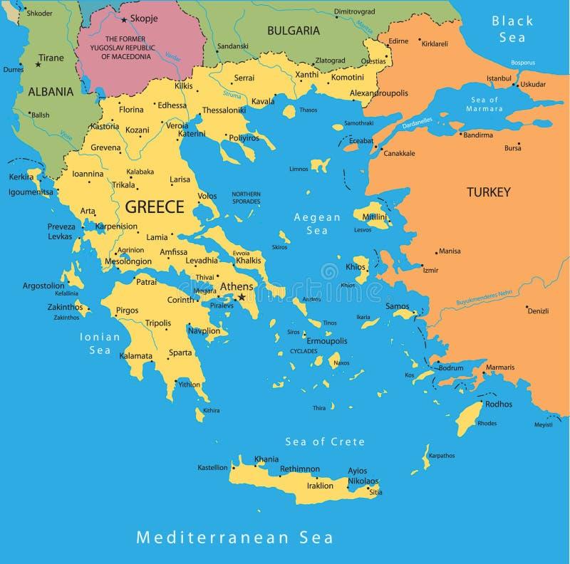 De vectorkaart van Griekenland stock illustratie