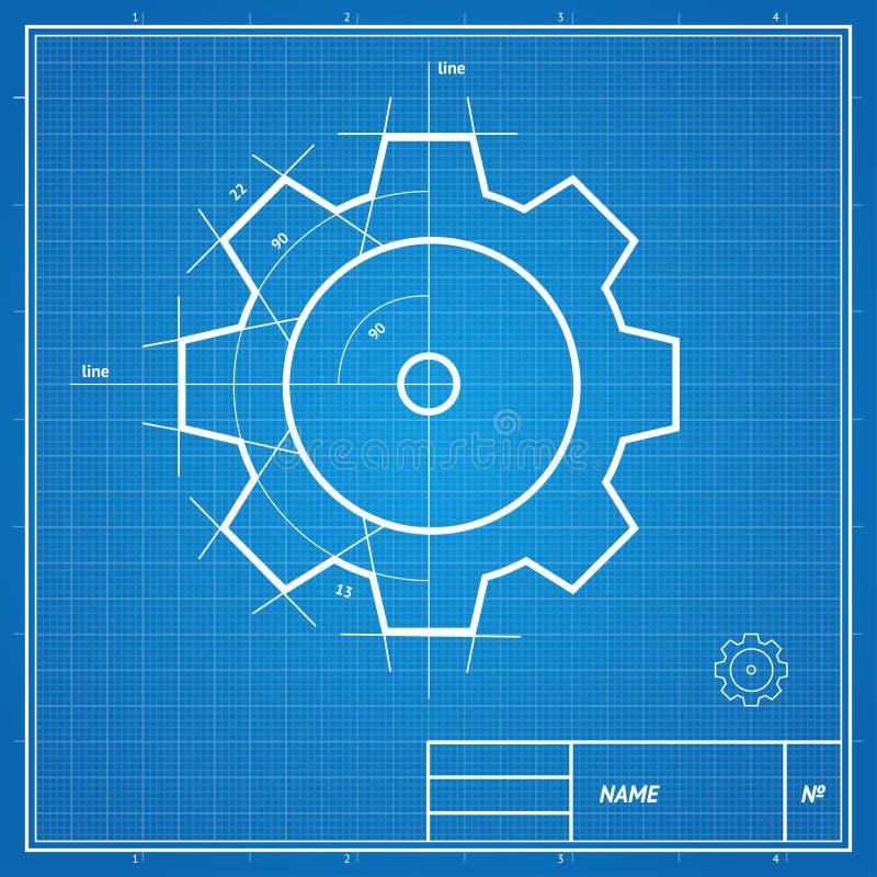 De vectorkaart van het blauwdruktoestel vector illustratie