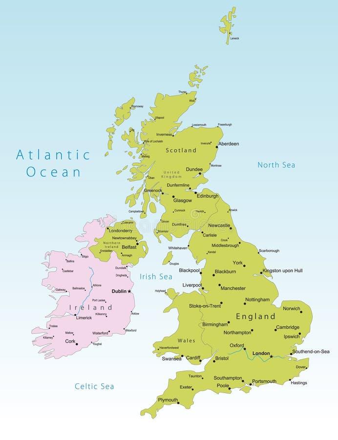 De vectorkaart van het Verenigd Koninkrijk vector illustratie